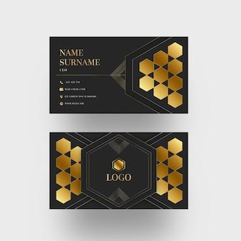 Modelo de cartão de visita com formas geométricas de folha de ouro