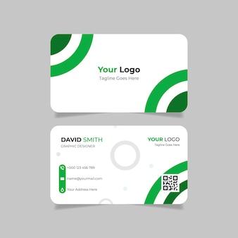 Modelo de cartão de visita com formato verde