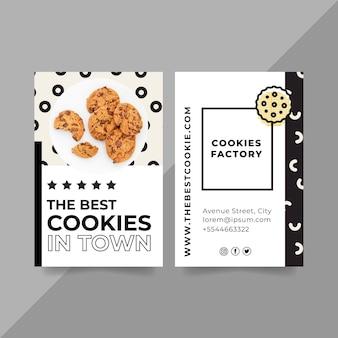 Modelo de cartão de visita com foto de biscoitos