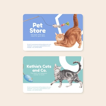 Modelo de cartão de visita com gato fofo em estilo aquarela