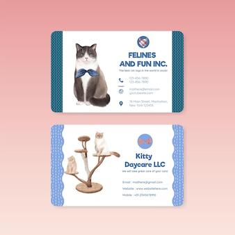 Modelo de cartão de visita com gato fofo