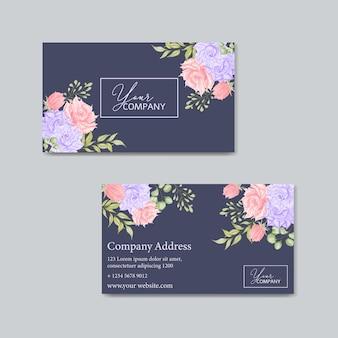 Modelo de cartão de visita com moldura de flores em aquarela