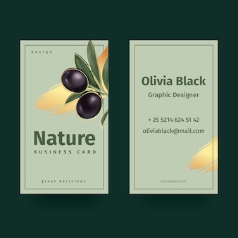 Modelo de cartão de visita com motivos naturais
