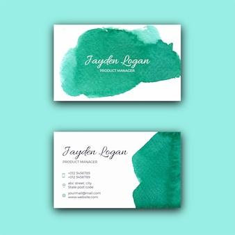 Modelo de cartão de visita com textura de aquarela verde
