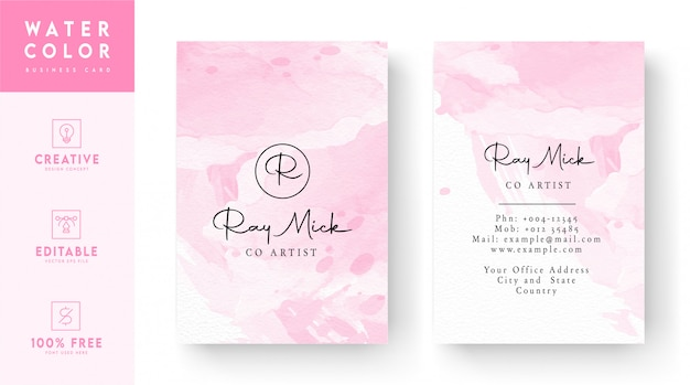 Modelo de cartão de visita - cor abstrata rosa e branco vertical