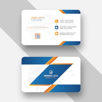 Modelo de cartão de visita criativo em estilo gradiente laranja e azul