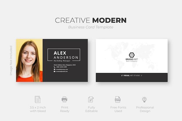 Modelo de cartão de visita criativo em preto e branco