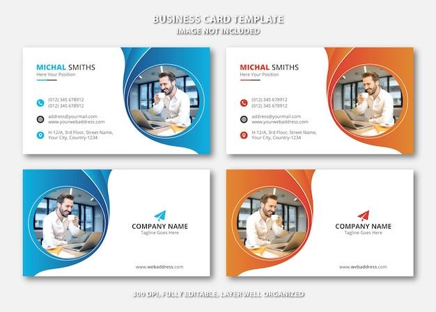 Modelo de cartão de visita criativo exclusivo com gradiente azul e laranja