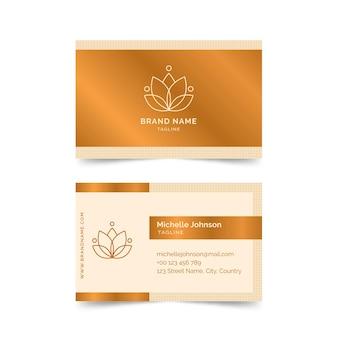 Modelo de cartão de visita da empresa flor dourada