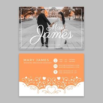 Modelo de cartão de visita de casamento Vetor grátis