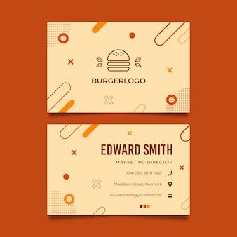 Modelo de cartão de visita de comida americana