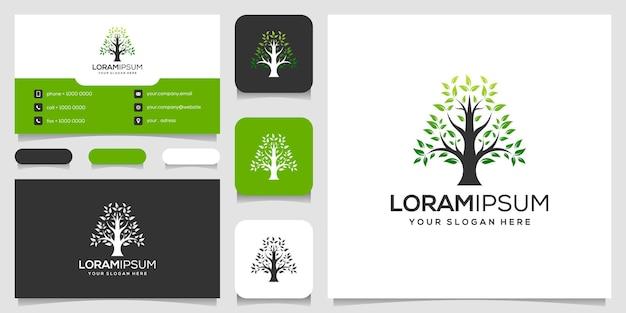 Modelo de cartão de visita de design de logotipo de árvore abstrata