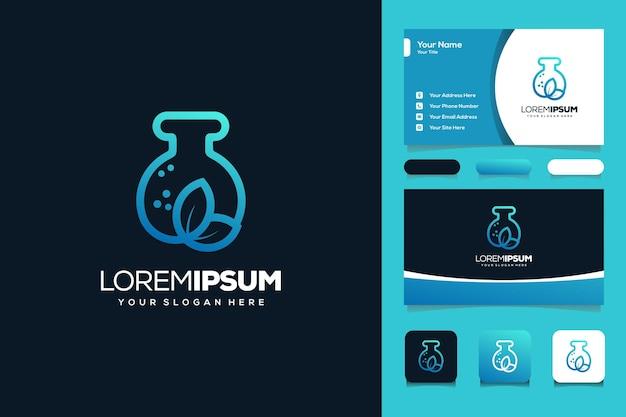 Modelo de cartão de visita de design de logotipo de laboratório e folha