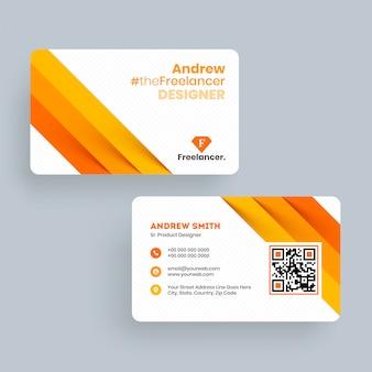 Modelo de cartão de visita de designer freelance andrew ou design de cartão de visita