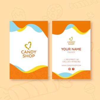 Modelo de cartão de visita de doces com foto