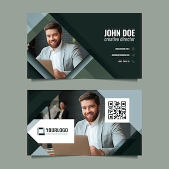 Modelo de cartão de visita de empresário sorridente