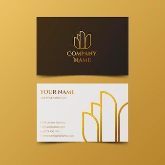 Modelo de cartão de visita de folha de ouro