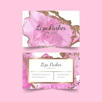 Modelo de cartão de visita de folha rosa ouro