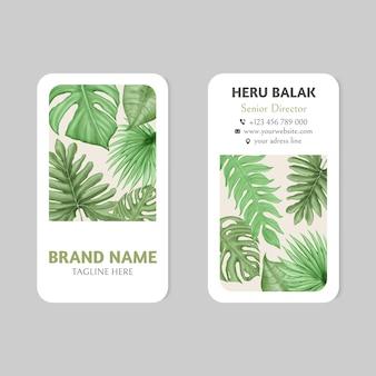 Modelo de cartão de visita de folhas de verão tropical
