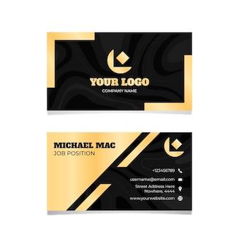 Modelo de cartão de visita de logotipo de folha dourada