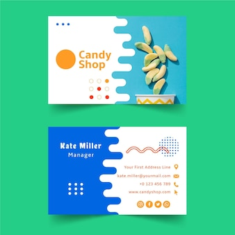 Modelo de cartão de visita de loja de doces