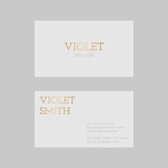 Modelo de cartão de visita de luxo em tom dourado com vista frontal e traseira