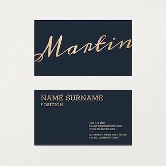Modelo de cartão de visita de luxo em tom dourado e azul com flatlay frontal e traseiro