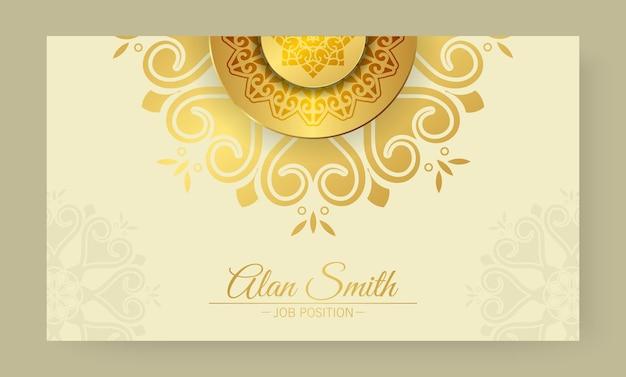 Modelo de cartão de visita de mandala amarela elegante