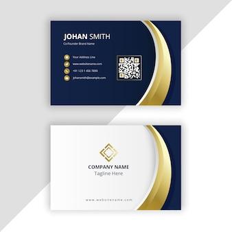 Modelo de cartão de visita de ouro azul