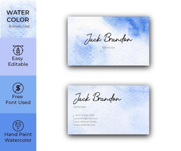 Modelo de cartão de visita de textura aquarela azul