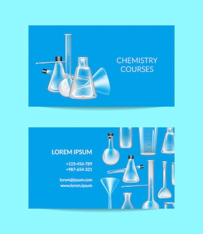 Modelo de cartão de visita do conjunto para cursos de química ou laboratório químico com ilustração de tubos de vidro