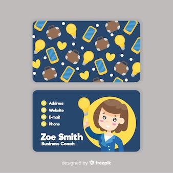 Modelo de cartão de visita do estilo kawaii