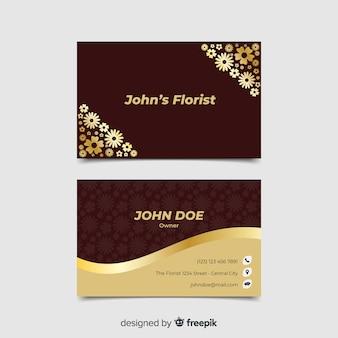 Modelo de cartão de visita dourado floral