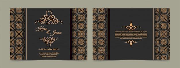Modelo de cartão de visita dourado vintage de luxo