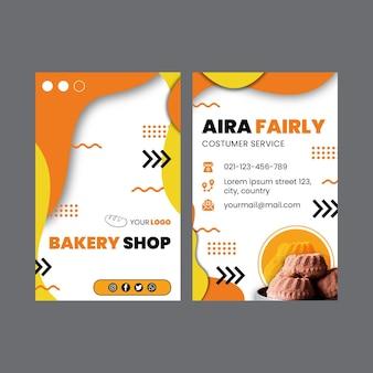 Modelo de cartão de visita dupla-face vertical de pão