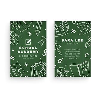 Modelo de cartão de visita dupla face vertical para academia escolar
