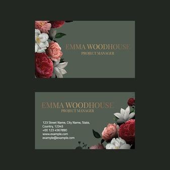 Modelo de cartão de visita editável em design botânico de luxo