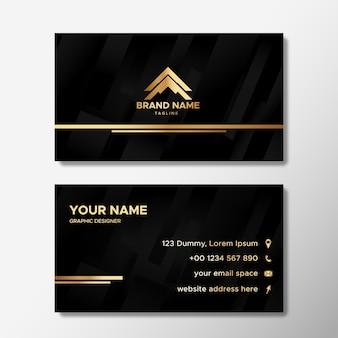 Modelo de cartão de visita elegante com formas abstratas em gradiente preto