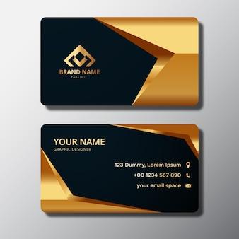 Modelo de cartão de visita elegante com formas douradas