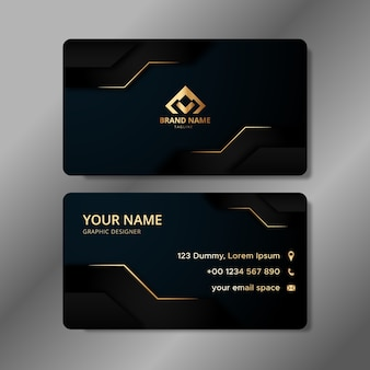 Modelo de cartão de visita elegante com formas futuristas abstratas em preto e dourado