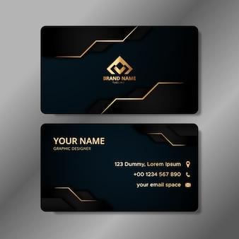 Modelo de cartão de visita elegante com formas gradientes futuristas abstratas em preto e dourado