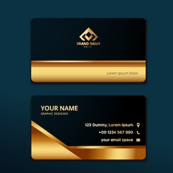 Modelo de cartão de visita elegante com formato dourado
