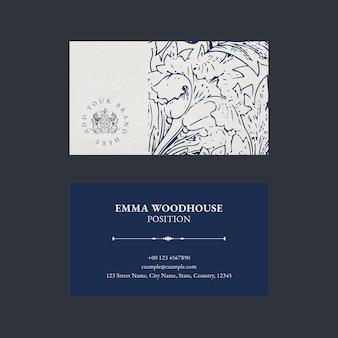 Modelo de cartão de visita elegante com logotipo e gráfico floral