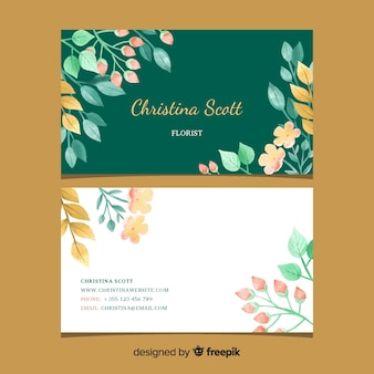 Modelo de cartão de visita elegante floral