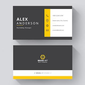Modelo de cartão de visita elegante minimalista em preto e amarelo