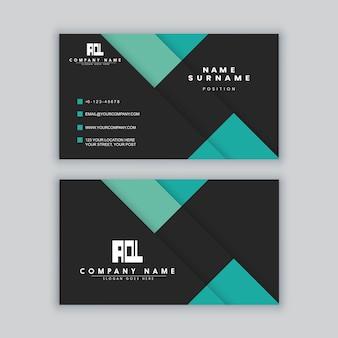 Modelo de cartão de visita elegante minimalista em preto e verde