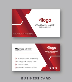Modelo de cartão de visita elegante mínimo vermelho e branco