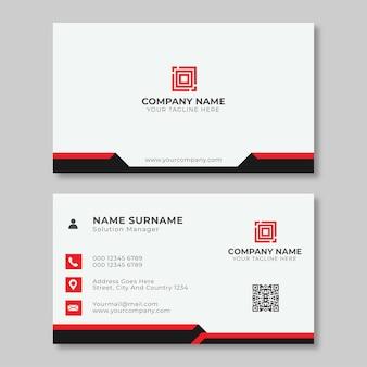 Modelo de cartão de visita elegante preto vermelho e branco
