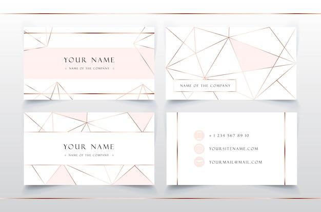 Modelo de cartão de visita elegante suave. rosa e ouro padrão geométrico