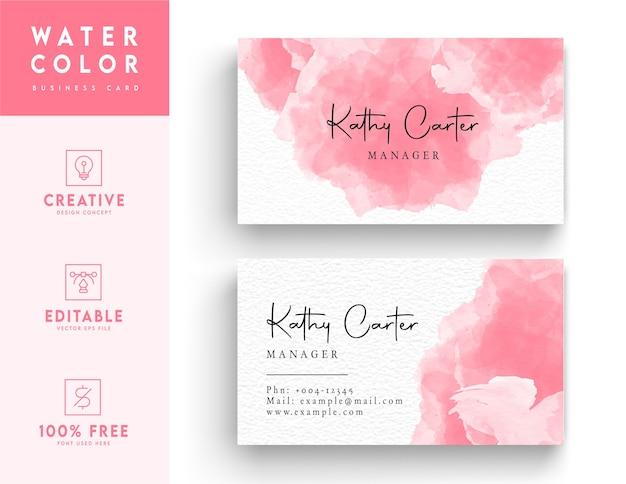 Modelo de cartão de visita em aquarela rosa e branco